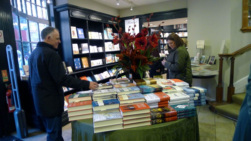 Hatchards Books. I always find Indian fiction I never see in the States and great travel books here.