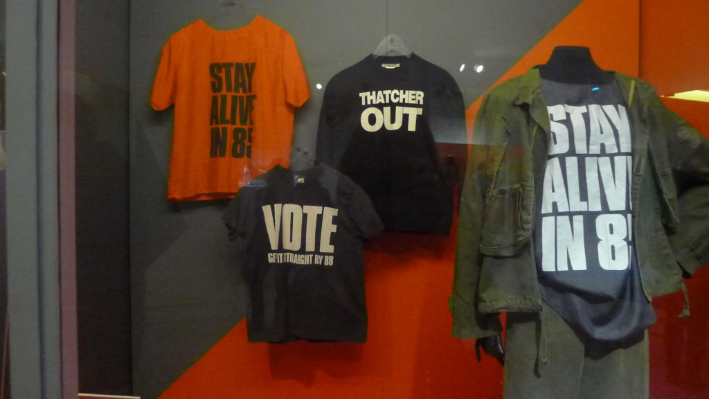 Early Katherine Hamnett t-shirts that were in response to Thatcher political stands.