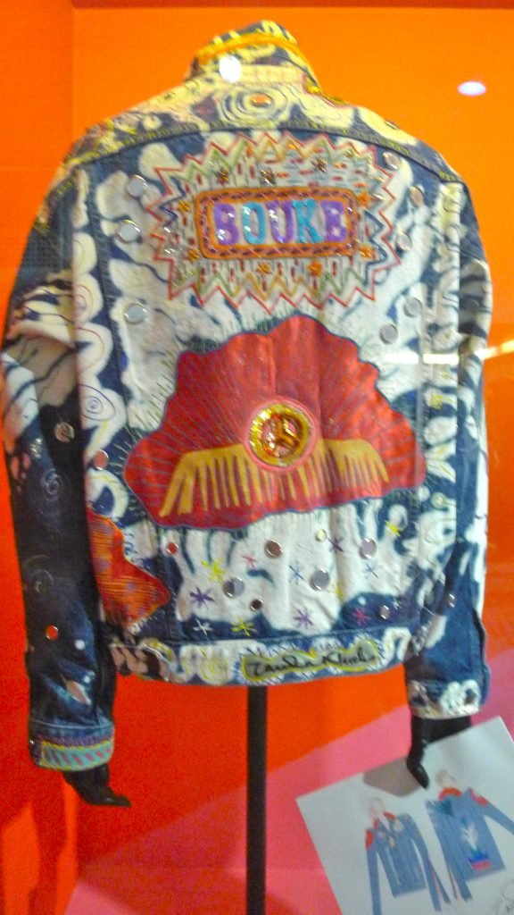 Zandra Rhodes denim jacket that was part of a show where they took popular designers of the time and told them to customize denim.
