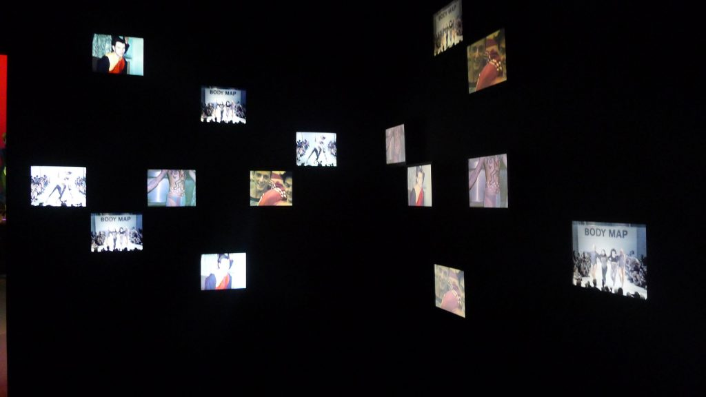 Video room. Scenes from clubs, concerts, fashion shows anything that was influencing those creating fashion at the time.