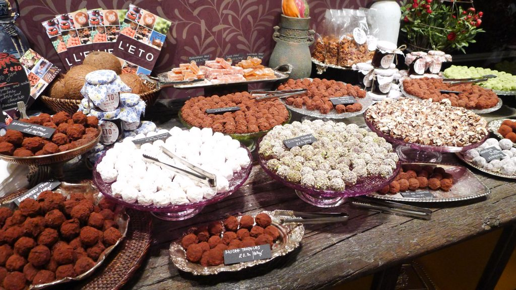 Wall of chocolate truffles in the place I had tea.