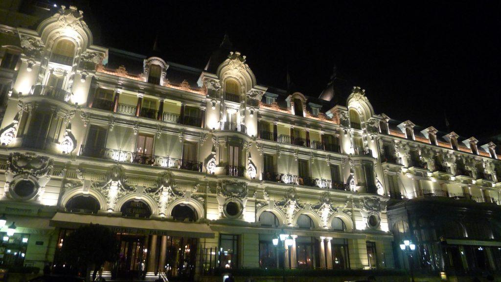 The Hotel des Paris at night.