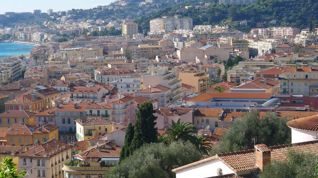 In the opposite direction the rooftops of Menton.