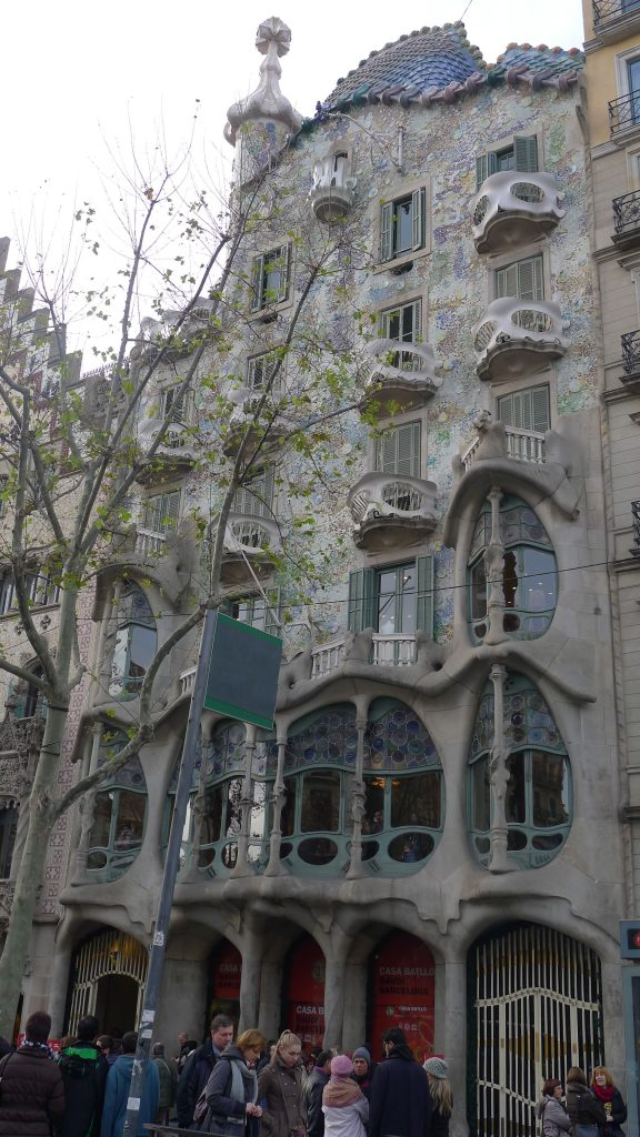 The first thing we stopped to look at was a Gaudi building. This is the city of Gaudi. The line was too long to go inside.