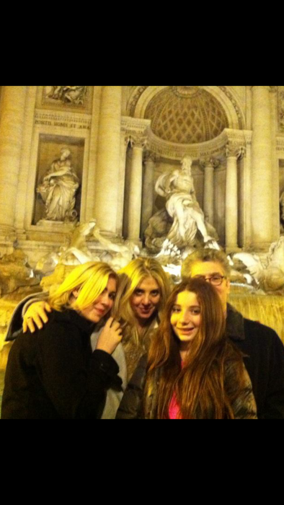 All of us in front of the Trevi Fountain.